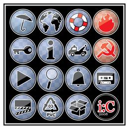 Conjunto de ícones de pinos variados