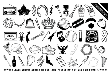 Iconos de chatarra al azar y