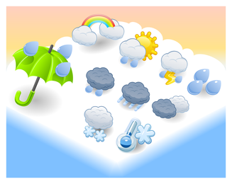 Cartoon weather icon pack over cloud