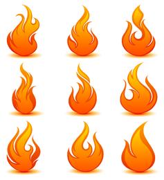 Bright fire icon set