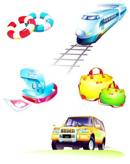 Classic travel elements icons
