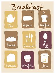 desayuno encantador icono vector