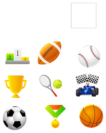 Sport balls and medals icon set