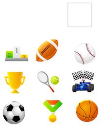 Sportbälle und Medaillenikonensatz