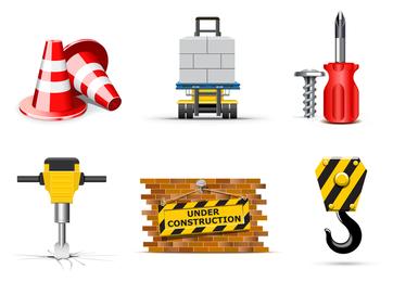 Conjunto de iconos de construcción y constructores