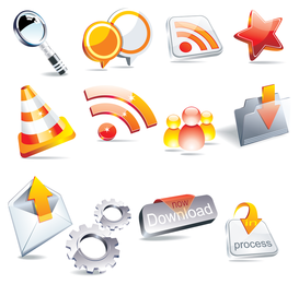 3D crystal effect icon collection