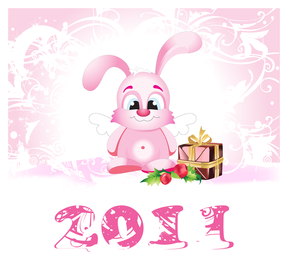 cartoon rabbit with icons