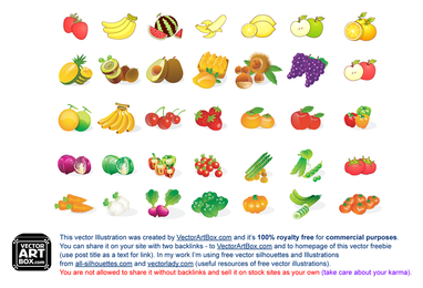 Fruit Vegetables Icons collection