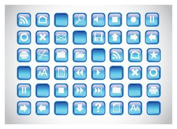 Botões azuis dos ícones