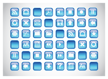 Iconos azules botones