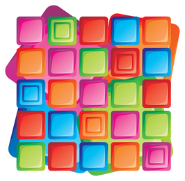 Colorful square icons with shadows
