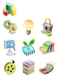 3D misc element icons set