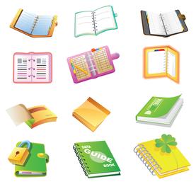 icono de dibujos animados de útiles escolares