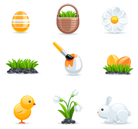 3D Easter icon set