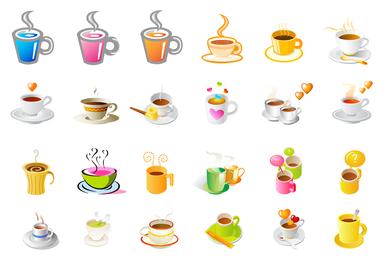 taza de café al vapor conjunto