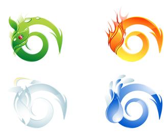 Conjunto de elementos 3D em espiral