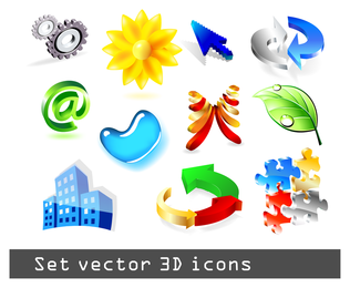 some threedimensional icon vector