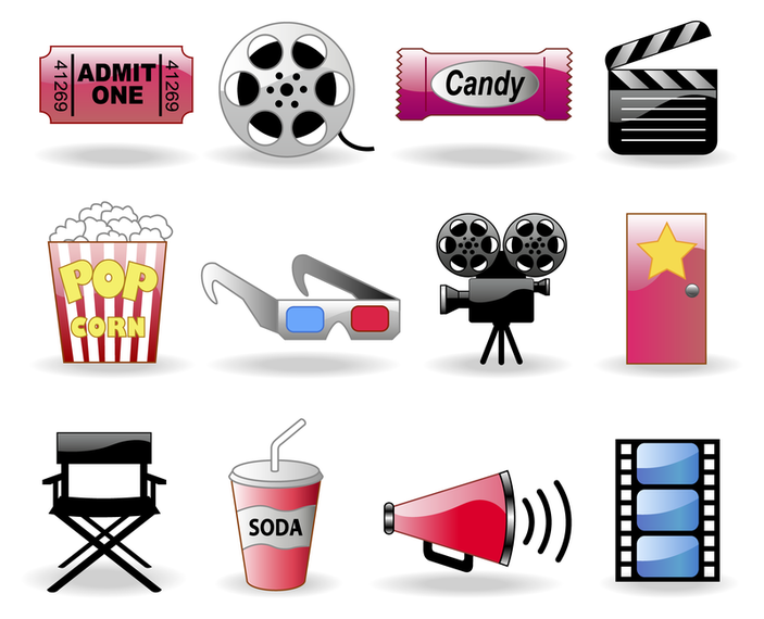 Colorful Cinema Icons Set Vector Download