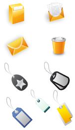 icono de oficina y etiqueta