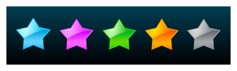 Set of 5 colorful stars
