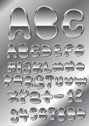 Metal Texture Font Design 04 Vector