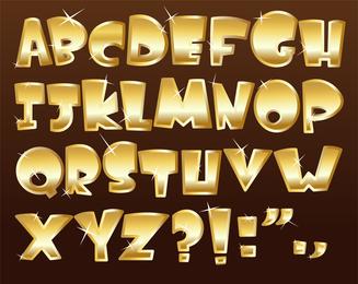 Metal textura Font Design 03 Vector