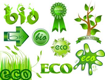 Kit de etiquetas bio verde