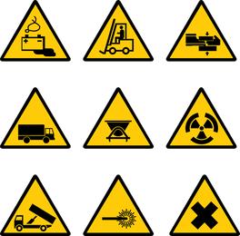 Etiqueta de advertencia del sitio de construcción del vector