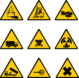 Etiqueta de advertência do canteiro de obras do vetor