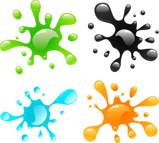 Salpicaduras de pintura de colores en 3d descargar vector - Salpicaduras de pintura ...