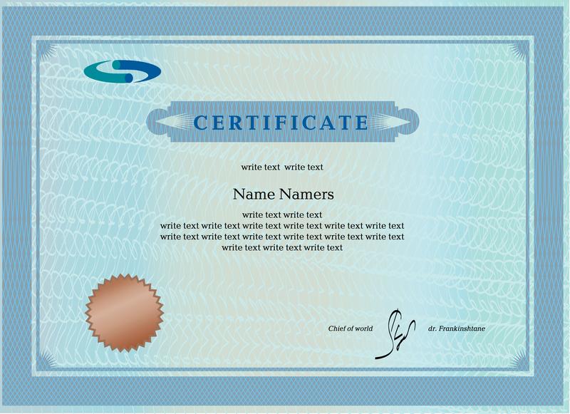 Blue Certificate Template Design Vector Download