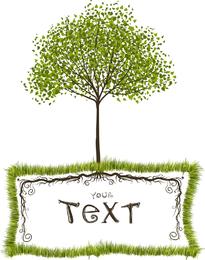 Cuadro de texto de vector de árboles verdes