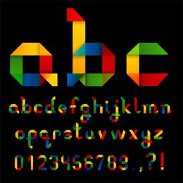 Origami Ribbon 26 letras y números en inglés Vector 3