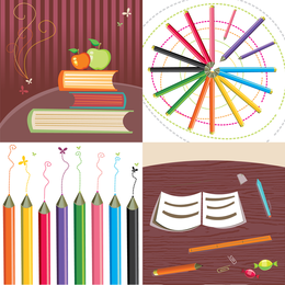 Illustrated school supplies set
