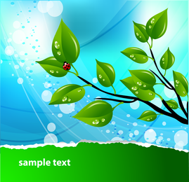 Illustrated 3D leaves over background