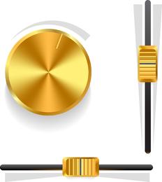 Botão De Volume De Ouro 03 Vector