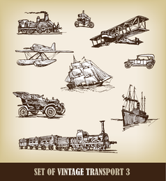 Vector European Handdrawn transporte Transportadora 01