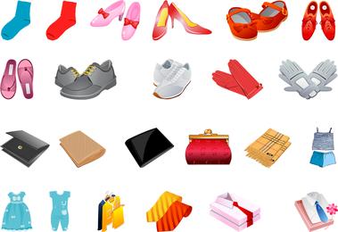Luvas de calçados lenços e outro vetor de carteira de roupas