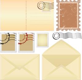 Nostalgie-Umschläge und Papier-Vektor 01