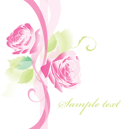 Hermosas Rosas Tarjetas de Felicitación 02 Vector