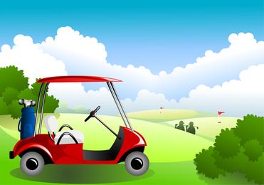 Campo de golf bajo el cielo azul Vector