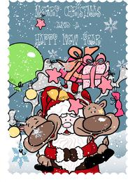 Vetor engraçado de Papai Noel e alce