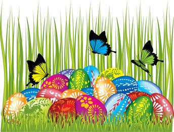 Páscoa cartões e decorações borboleta ovos 04 Vector