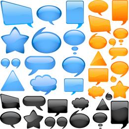 Cuadro de diálogo de estilo de cristal colorido de vector