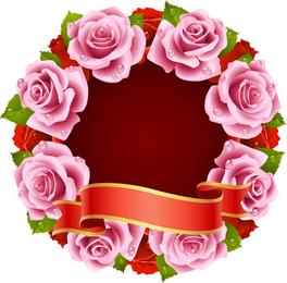 Rosa y cinta vector