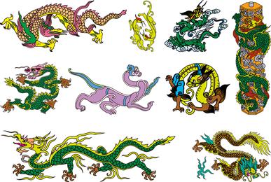 Dragón clásico chino Vector de los siete