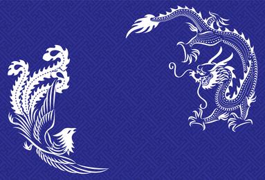 Ilustrado do dragão e Design Phoenix