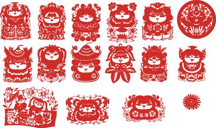 O tradicional chinês Papercut Fuwa Vector