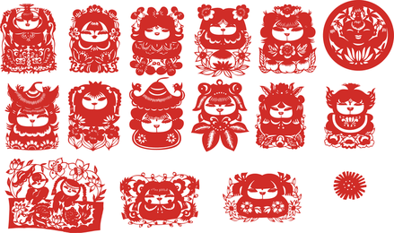 The Traditional Chinese Papercut Fuwa Vector