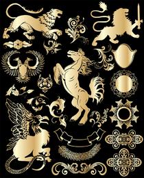 Tendência de vetor ouro elementos de design europeu 1